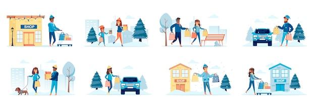 Wintersaison-einkaufsbündel von szenen mit personencharakteren