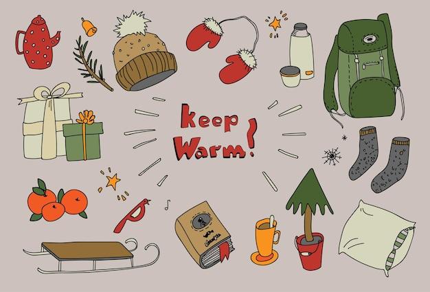 Wintersaison handgezeichnete symbole, warme vektorillustration, gemütliche weihnachtsferien, isoliertes set