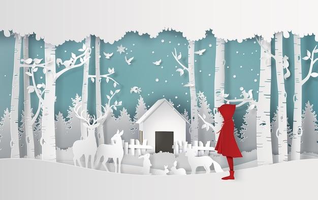 Wintersaison mit dem mädchen im roten mantel
