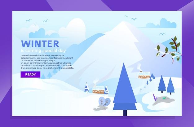 Wintersaison mit landing page design