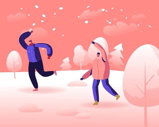 Wintersaison spaß und freizeit im freien, aktive spiele auf der straße. karikatur flache illustration
