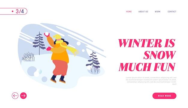 Wintersaison spaß und freizeit im freien landing page.