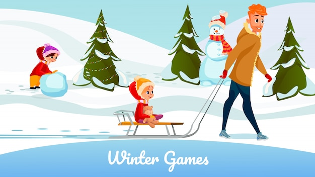 Wintersaison spiele cartoon vater tochter spielen