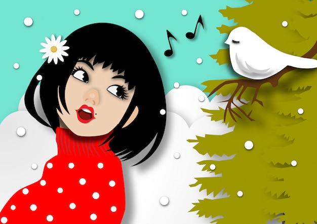 Wintersaisonhintergrund mit der schönen dame, die ein lied im papierkunstdesign singt