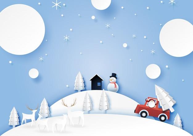 Wintersaisonlandschaft mit weihnachtsmann