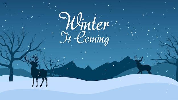Winterschlussverkauf-banner post-vorlage mit schneebedecktem hintergrund