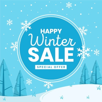 Winterschlussverkauf in flachem design