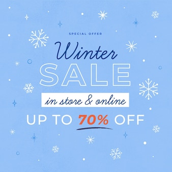 Winterschlussverkauf mit gezeichneten elementen