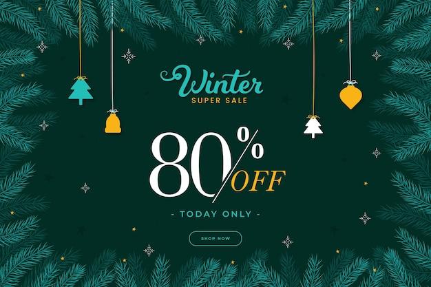 Winterschlussverkauf mit hängenden weihnachtsdekorationen