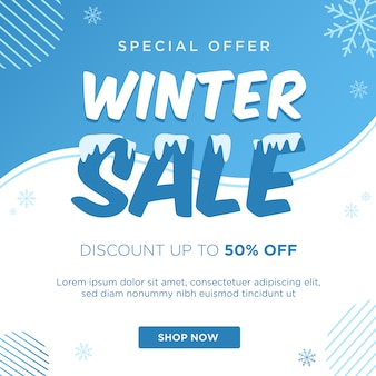 Winterschlussverkauf rabatt banner vorlage