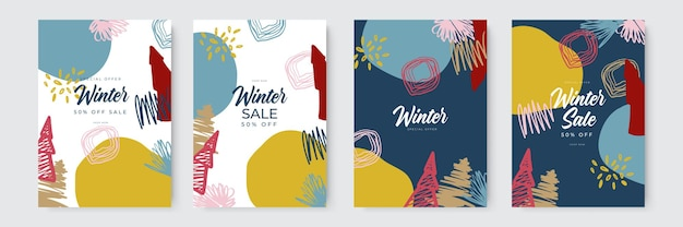 Winterschlussverkauf und frohe weihnachten-grußkarten mit handgezeichnetem und organischem stil trendy abstrakter win...