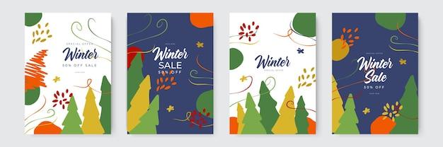 Winterschlussverkauf und weihnachtskarten mit organischem und handgezeichnetem stil sammlung abstrakter bac...