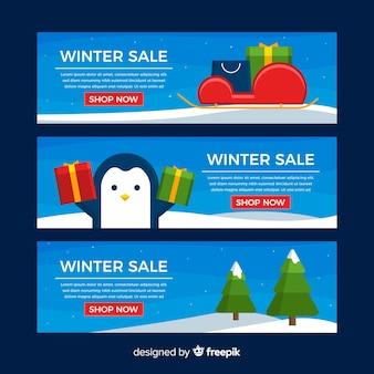 Winterschlussverkaufnetz-fahnenset