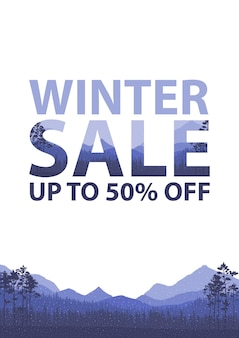 Winterschlussverkaufwörter auf der schönen weihnachtsflachen winterferienlandschaftshintergrund mit bäumen, schneeflocken, fallendem schnee. etikett für doppelbelichtungseffekt.