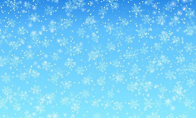 Winterschneehintergrund. vektor-illustration. schneefall himmel. weihnachten hintergrund. fallender schnee.