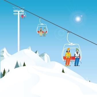 Winterskiort mit skifahrern auf einem skilift.