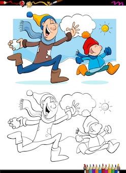 Winterspaß mit familie malbuch