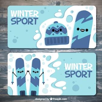 Wintersport-banner in den blauen tönen
