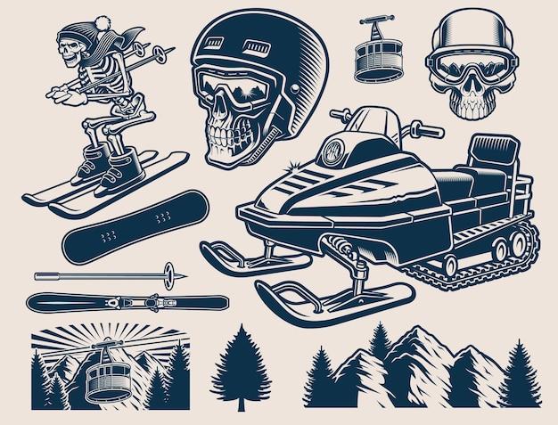 Wintersport-clipart mit verschiedenen abbildungen