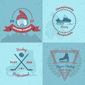 Wintersport-embleme 2x2