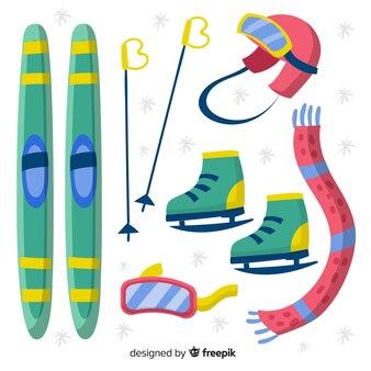 Wintersport handgezeichnete ausrüstung