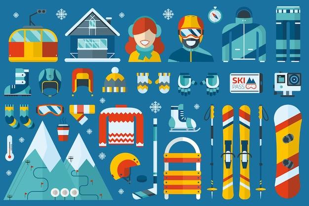 Wintersport-icon-set mit skifahren, snowboarden und anderen schneespielen und aktivitäten mit flachen elementen