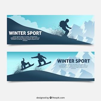Wintersport-konzept-banner mit silhouetten