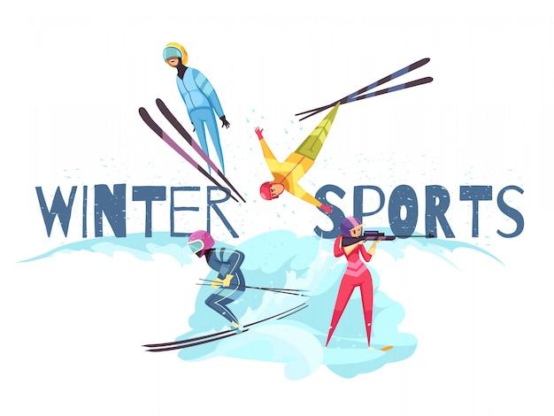 Wintersport mit springendem alpinen skifahren und biathlonsymbolen flach isoliert
