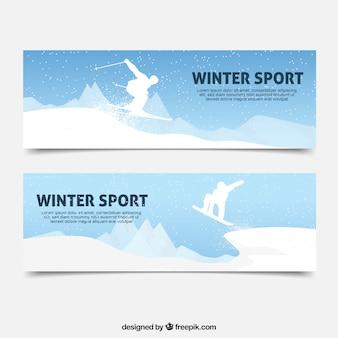 Wintersportfahnen mit weißer silhouette