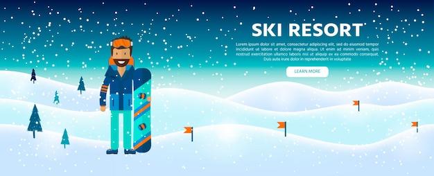 Wintersporthintergrund mit charakter und skifahren, snowboardausrüstung im flachen design. elemente für das bild des skigebiets, bergaktivitäten, vektorillustration.