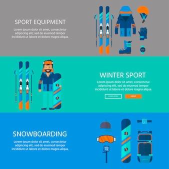 Wintersportikonen-sammlung. ski- und snowboardausrüstungsausrüstung lokalisiert auf weißem hintergrund im flachen stilentwurf. elemente für skigebietsbild, bergaktivitäten, vektorillustration.