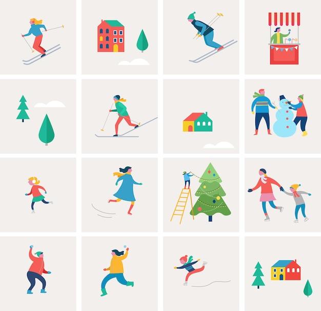 Wintersportszene, weihnachtsstraßenereignis, festival und messe, mit menschen, familien machen spaß