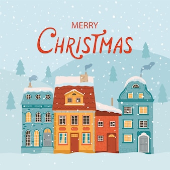 Winterstadt im retro-stil. weihnachten mit häusern. gemütliche stadt zur begrüßung