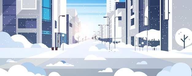 Winterstadt verschneite innenstadtstraße mit wolkenkratzern geschäftsgebäude sonnenschein stadtbild flache horizontale vektorillustration