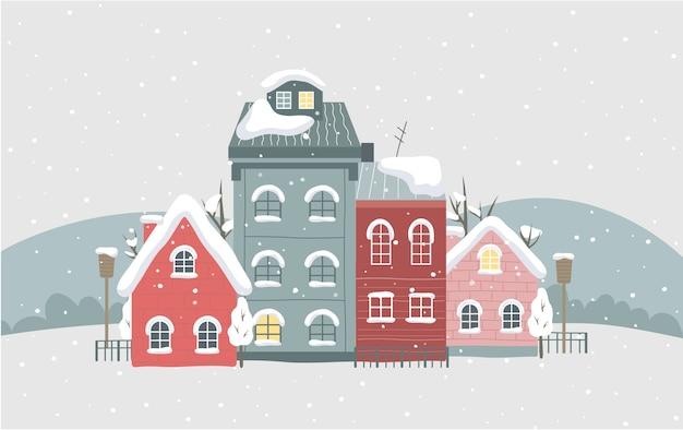 Winterstadtillustration. schöne häuser mit schnee auf dem dach. frostige luft. weihnachtskartendekoration. vektorillustration