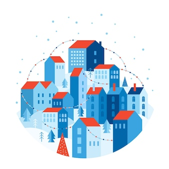 Winterstadtlandschaft im geometrischen stil. festliche schneestadt ist mit bunten girlanden geschmückt. häuser auf hügeln zwischen bäumen und schneeverwehungen