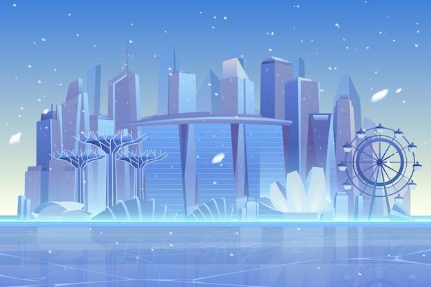 Winterstadtskyline an gefrorener bucht, architektur
