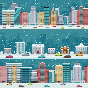 Winterstadtstraßen mit autos und gebäuden. weihnachtsnachtstadtbilder mit schneefallvektorsatz. winterweihnachtsstadtbildstraße mit auto in der straßenillustration