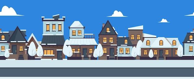 Winterstraßenbanner. nahtloses muster der netten schneebedeckten häuser. vorstadtgebäude-vektorillustration. weihnachtsstraßenfahne, schneebedeckter stadthintergrund