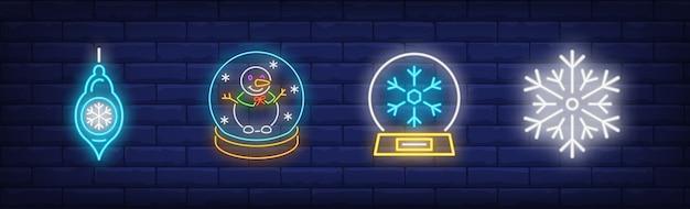 Wintersymbole symbole im neonstil gesetzt