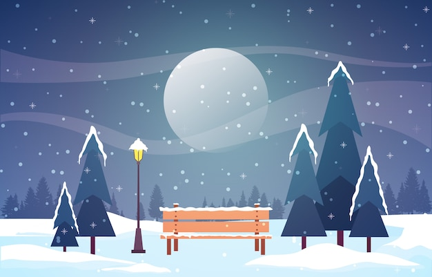 Winterszenen-schneelandschaft mit kiefer-berg