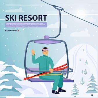 Winterurlaub aktivität. glücklicher mann aufstieg zum skilift aufzug.