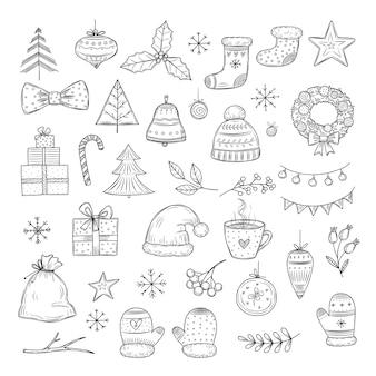 Winterurlaub doodle set