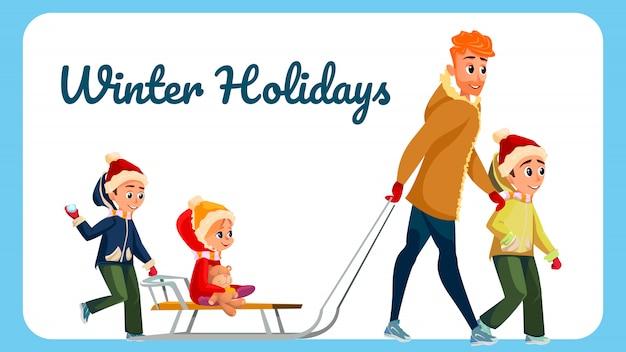 Winterurlaub-fahnen-karikatur-mann-kinder im freien