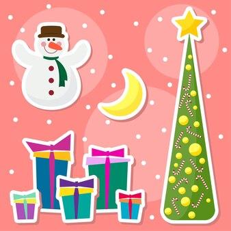 Winterurlaub mit lustigen cartoon lächelnd schneemann zeichnung schneeflocken mond tanne
