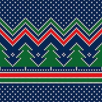 Winterurlaub nahtlose strickmuster mit weihnachtsbaum ornament