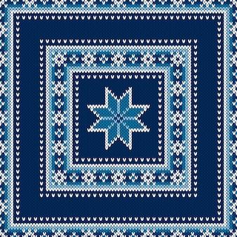 Winterurlaub nahtlose strickpullover-muster-design mit einer geschenkbox wollstrick-textur-imitation