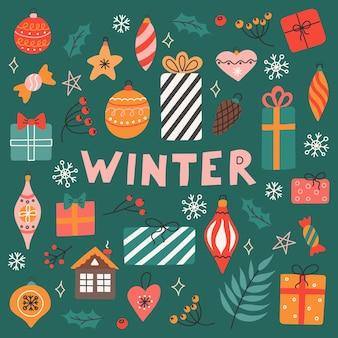 Wintervektorsatz von weihnachtsbaumspielzeug, pflanzen und beeren auf grünem hintergrund im flachen stil.