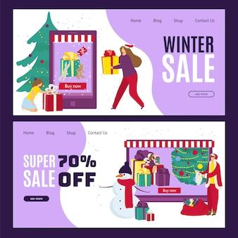 Winterverkauf. glücklicher menschencharakter am karikaturweihnachtsschablonenfahnenkonzept. Premium Vektoren