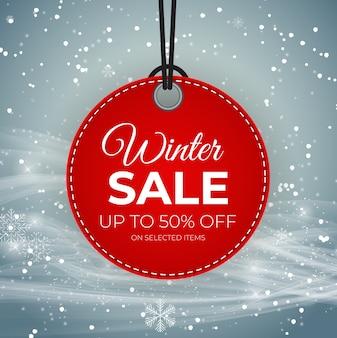 Winterverkauf red tag vektor banner für saisonale einzelhandelsförderung